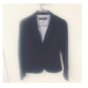 Black blazer with pin stripe detailing inside